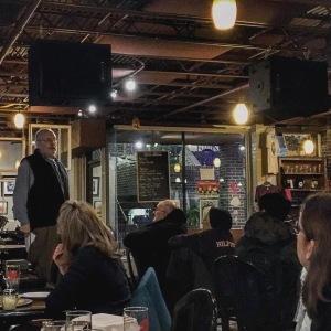 Dr. Jack Schultz speaking at the Science Cafe, Columbia MO