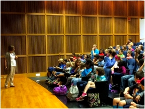 """Lee Elementary School 3rd graders hear about the amazing world of """"plant senses"""" from Dr. Heidi Appel on September 29th, 2015, tour the Life Sciences Center, and see their own artwork displayed in the lobby. (http://sciartreach.weebly.com/)"""