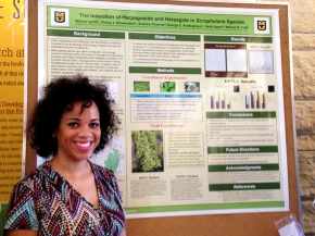 Briana at the poster session for the Summer undergraduate research programme 2014