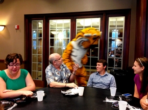 Gina, Jack, Truman the Tiger, Ryan and Grace at the picnic for the Summer undergraduate research programme 2014