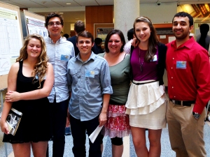 Sam, Wade, Ryan, Melanie, Grace and Dhru at the poster session for the Summer undergraduate research programme 2014