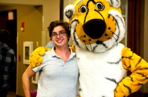 Wade and Truman the Tiger at the picnic for the Summer undergraduate research programme 2014