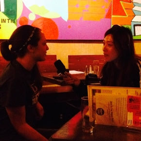 Nicole Odom being interviewed by a Mizzou journalist student after Dr. Heidi Appel's talk at the Science Cafe (Broadway Brewer, Columbia) on September 14, 2015