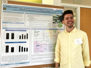 Will presenting his poster about the impact of caterpillar feeding vibrations on plant volatile emission during Life Science Week 2017