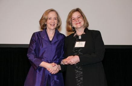 AAAS president Susan Hockfield and Heidi Appel at the 2018 AAAS Annual Meeting in Austin, Texas, on February 17, 2018.
