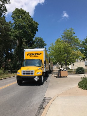 August 2017 — Moving from the University of Missouri to the University of Toledo with two big trucks!